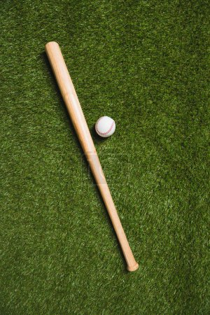 baseball bat and ball on grass