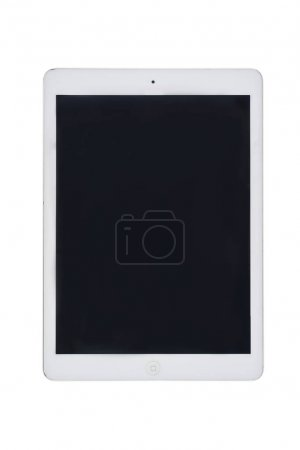 Photo for Big white digital tablet with black blank screen isolated on white - Royalty Free Image