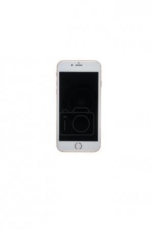 Photo for One white smartphone with blank screen isolated on white with copy space - Royalty Free Image