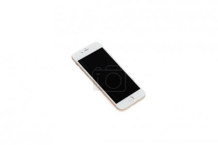 Photo for White smartphone with black blank screen isolated on white - Royalty Free Image