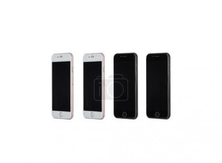 Set of smartphones with blank screens