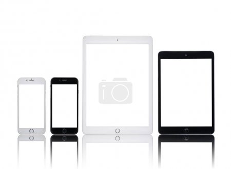 Photo for Close up view of digital tablets and smartphones isolated on white - Royalty Free Image