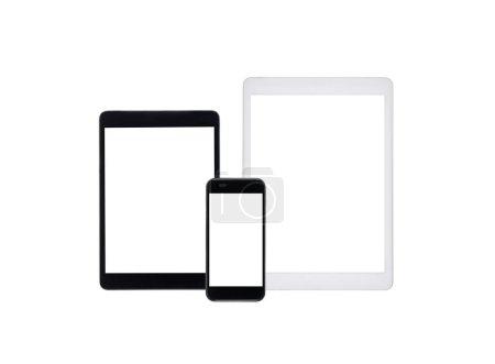 Photo pour Ensemble de tablettes numériques et smartphone simulacre isolé sur blanc - image libre de droit
