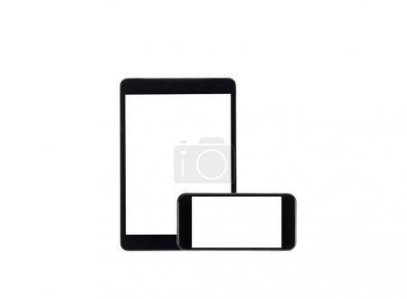 Photo for Arranged set of digital tablet and smartphone with blank screens isolated on white - Royalty Free Image