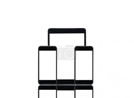 digital tablet and smartphones with blank screens