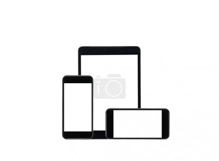 tablet computer and smartphones with blank screens