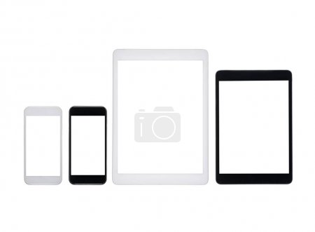 digital tablets and smartphones with blank screens