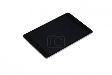 Photo for Close up of digital tablet with black screen isolated on white - Royalty Free Image
