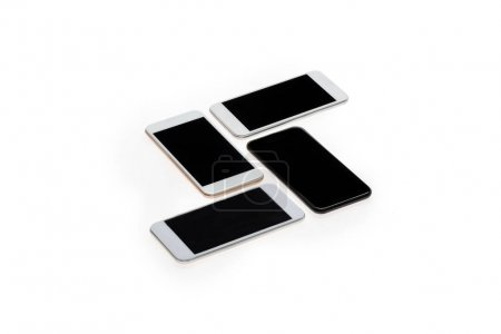 Modern smartphones with blank screens
