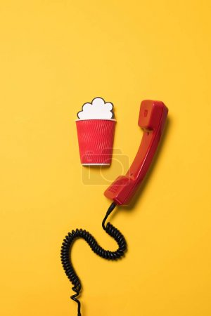Telephone handset and paper cup