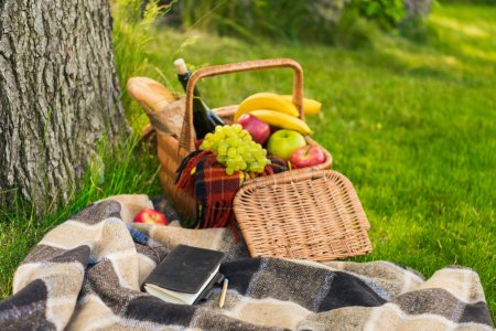 Picnic basket and notebook on plaid