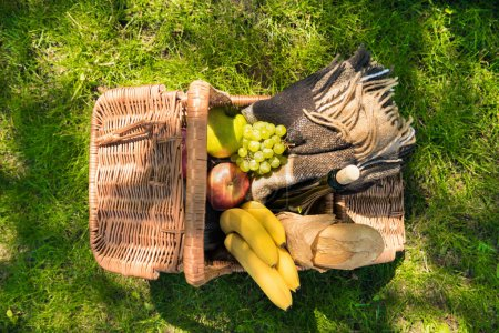 Picnic basket with fruits and plaid