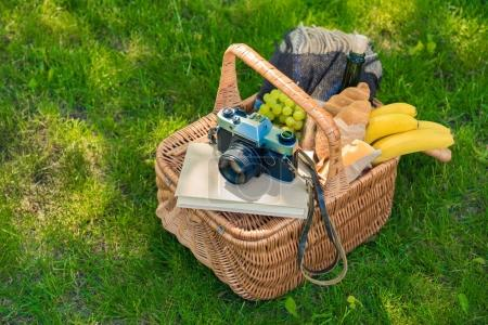 Picnic basket with fruits and camera