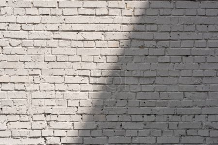 Photo for Full frame of white brick wall background with shadow and sunlight - Royalty Free Image