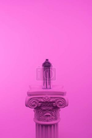 Photo for Pink toned picture of aerosol paint in can on column - Royalty Free Image
