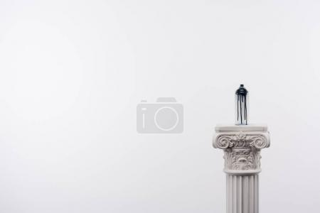 Photo for Close up view of spray paint in can standing on column isolated on white - Royalty Free Image