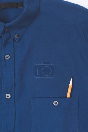 close-up view of stylish blue shirt with pencil in pocket