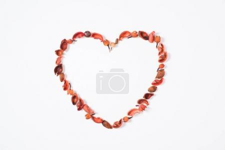 top view of heart from dried fruits isolated on white