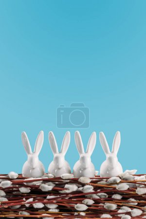 white easter rabbits on catkins isolated on blue