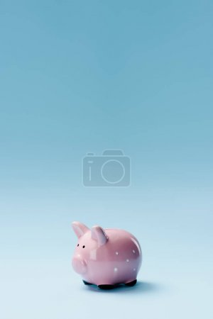 close up view of pink piggy bank isolated on blue