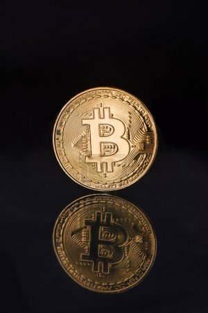Close up view of golden bitcoin with reflection isolated on black