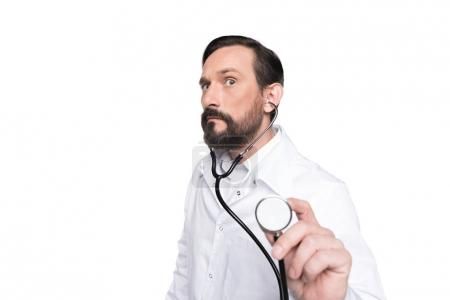 bearded doctor with stethoscope