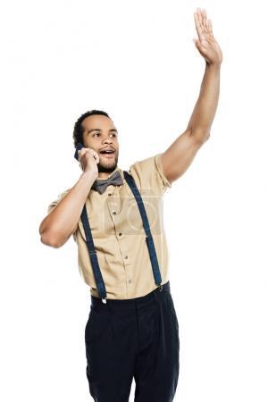 African american man using smartphone