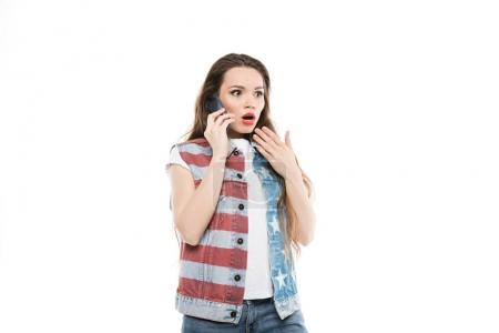 american style girl talking on smartphone