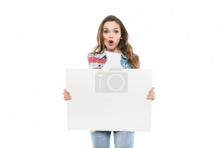 Photo for Young caucasian woman holding empty banner with facial expression - Royalty Free Image