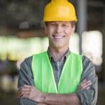 Mature builder in hard hat