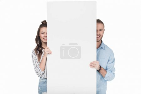 Couple with blank banner