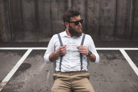 stylish man with longboard