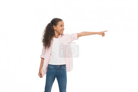 Little girl pointing away