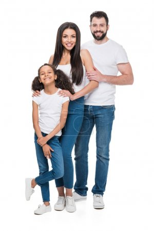 Photo for Young multiethnic family in casual clothing looking at camera isolated on white - Royalty Free Image