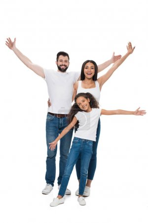Photo for Smiling family with outstretched arms looking at camera with isolated on white - Royalty Free Image