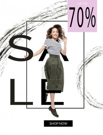 sale banner with asian woman