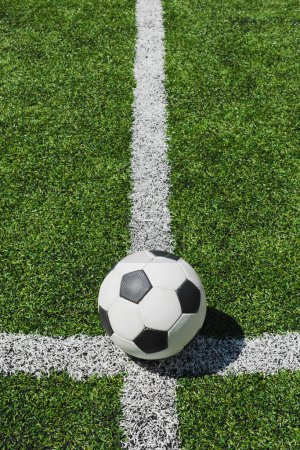 Photo for Close up view of soccer ball lying on green soccer pitch - Royalty Free Image
