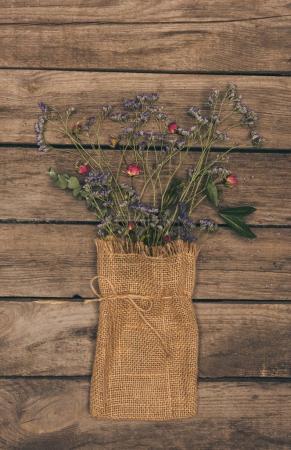 Dry flowers in sack bag