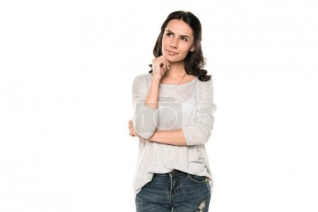 Photo pour Belle femme réfléchie debout dans des vêtements décontractés, isolé sur blanc - image libre de droit