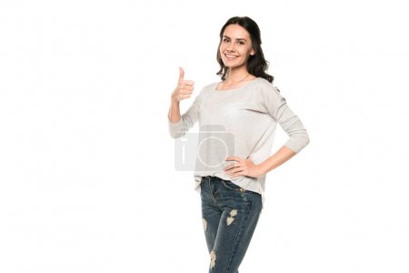 Photo for Beautiful smiling woman showing thumb up, isolated on white - Royalty Free Image
