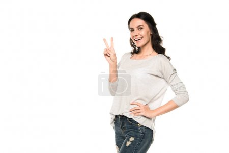 woman with victory sign