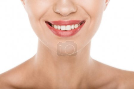 Photo for Cropped view of beautiful smiling woman with perfect skin, isolated on white - Royalty Free Image