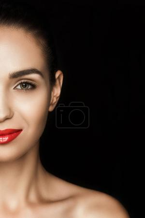 attractive woman with red lips
