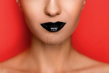 Fashionable woman with black lips