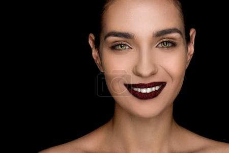 fashionable woman with dark lips