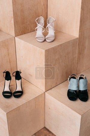 Photo for Close-up view of stylish high heeled shoes standing in boutique - Royalty Free Image