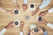 businesspeople smoking on coffee break