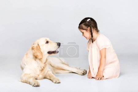 adorable girl with dog