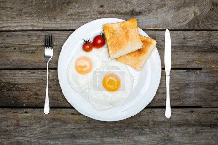 fried eggs and toasts on plate