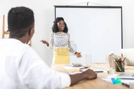 African american businesswoman at meeting
